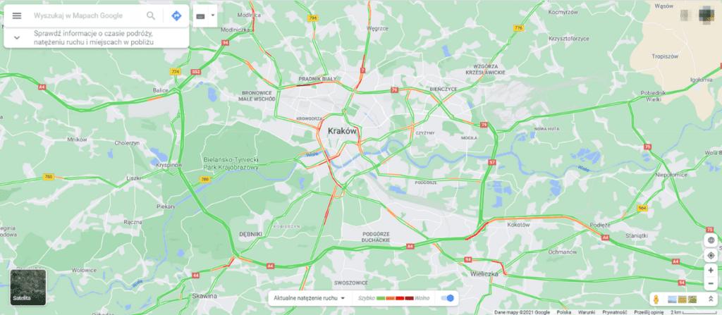 Mapy google offline - natężenie ruchu
