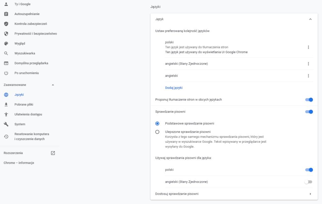 jezyk google chrome