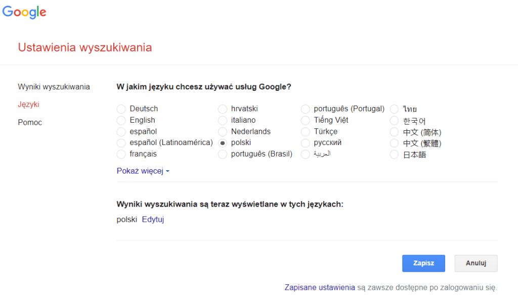 ustawienia jezyka wyszukiwarka google