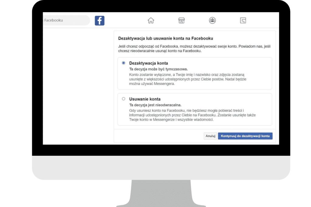 usuwanie a dezaktywacja konta na fb