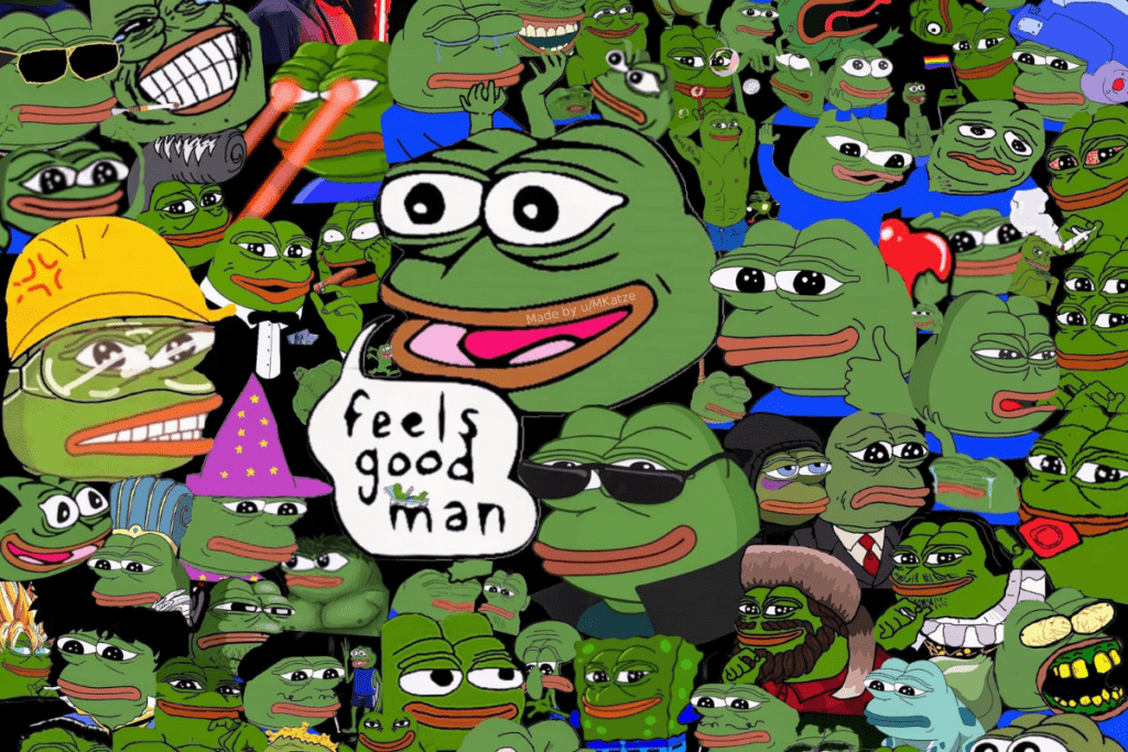 Żaba Pepe w różnych odsłonach