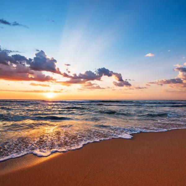 morze plaża zachód słońca oceany