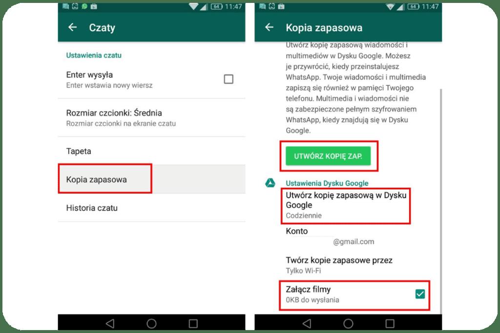 Kopia zapasowa WhatsApp na Dysku Google